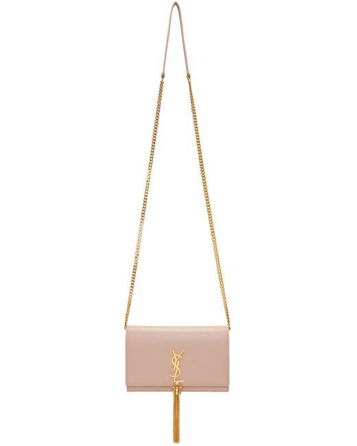 Saint Laurent   Pink Kate Chain Wallet Bag   Lyst