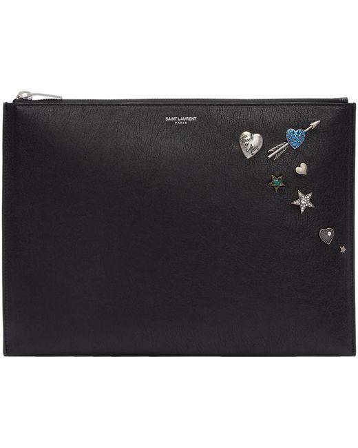Saint Laurent | Black Pins Zipped Tablet Holder | Lyst