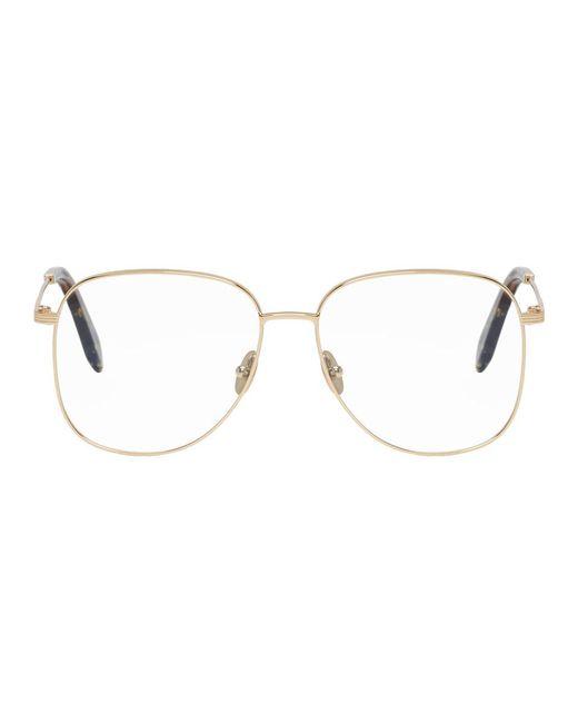 Victoria Beckham - Metallic Gold Grooved Feminine Glasses - Lyst