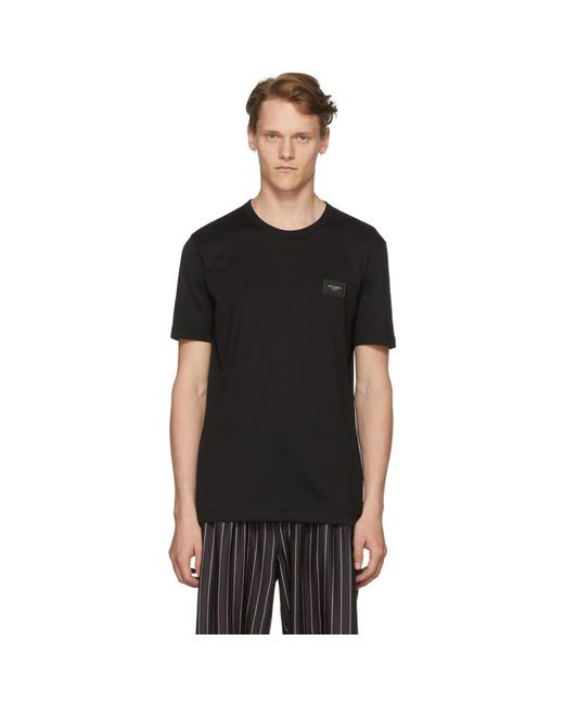 093a90b9d Lyst - Dolce & Gabbana Black Logo Plaque T-shirt in Black for Men