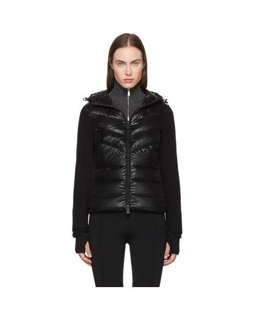 moncler grenoble black down cardigan in black lyst. Black Bedroom Furniture Sets. Home Design Ideas