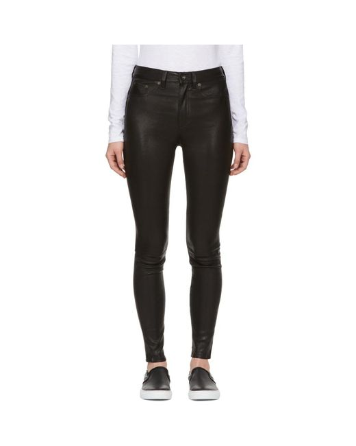 Rag & Bone - Black High-rise Leather Pants - Lyst