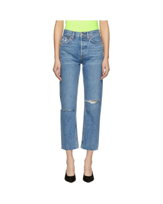 Re/done - Ssense Exclusive Blue Originals Stove Pipe Rip Jeans - Lyst