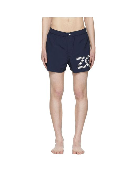 KENZO - Blue Navy Logo Swim Shorts for Men - Lyst