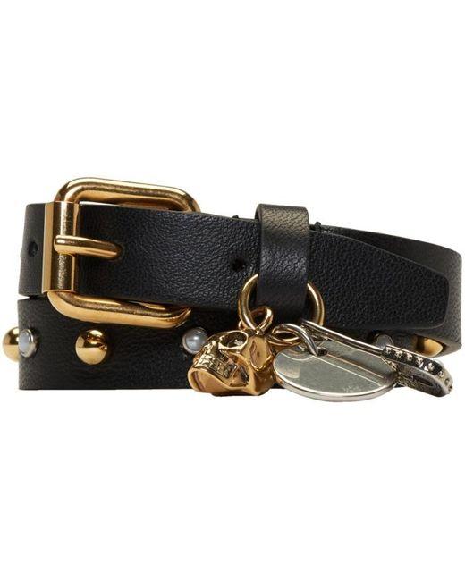 Alexander McQueen | Black Studded Safety Pin Double Wrap Bracelet | Lyst