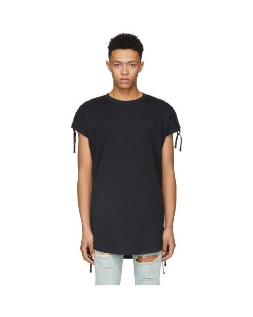 Balmain - Black Shoulder Lacing T-shirt for Men - Lyst
