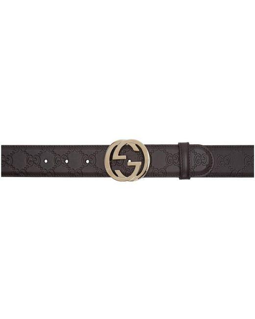 a1f15bc7af5f Lyst - Gucci Brown Interlocking G Belt in Brown