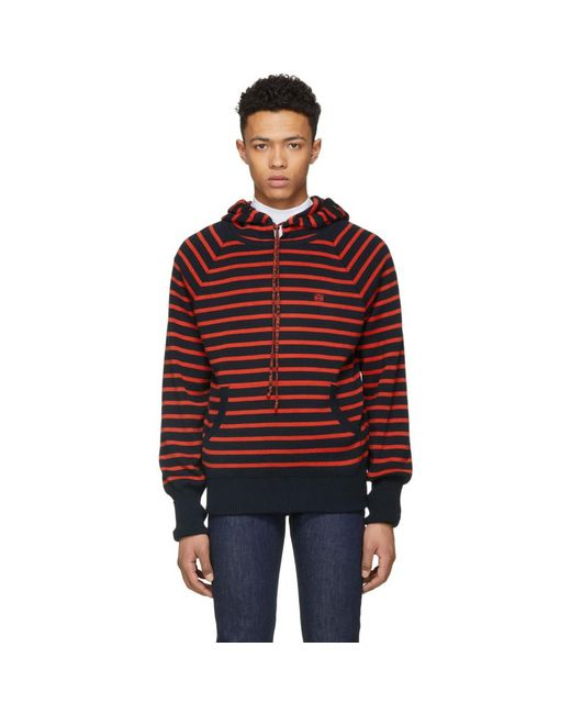 Loewe - Red Pull a capuche et logo rouge et bleu marine for Men - Lyst