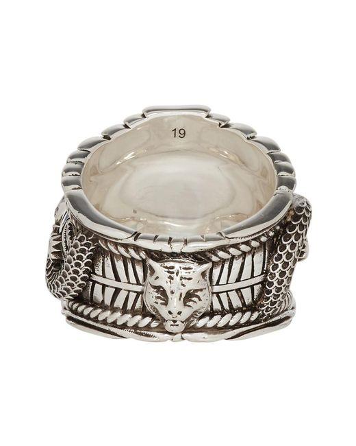 c8a4dbaf9 ... Gucci - Metallic Garden Sterling Silver Plated Brass Logo Ring for Men  - Lyst ...