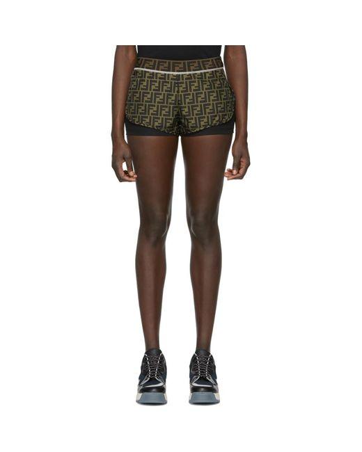 Fendi - Black Brown Forever Shorts - Lyst