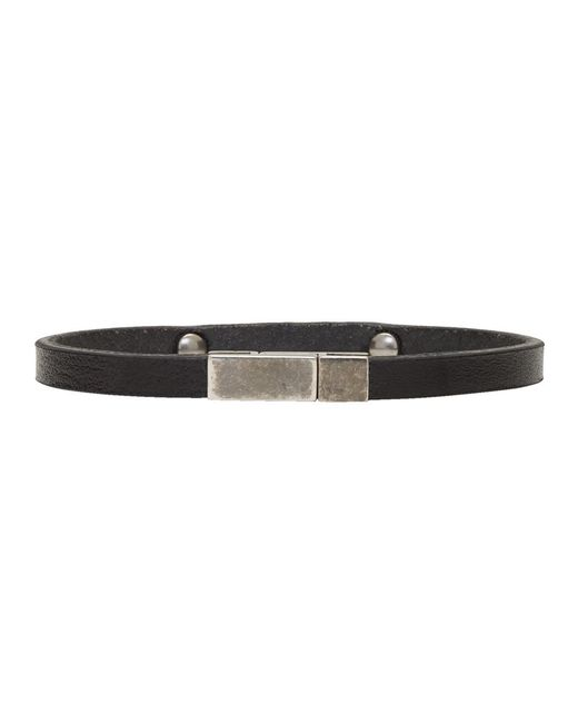 Saint Laurent Black Leather Name Plate Bracelet iOIjZY