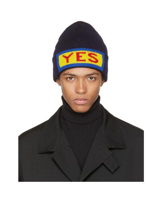 Fendi - Blue Navy 'yes' Beanie for Men - Lyst