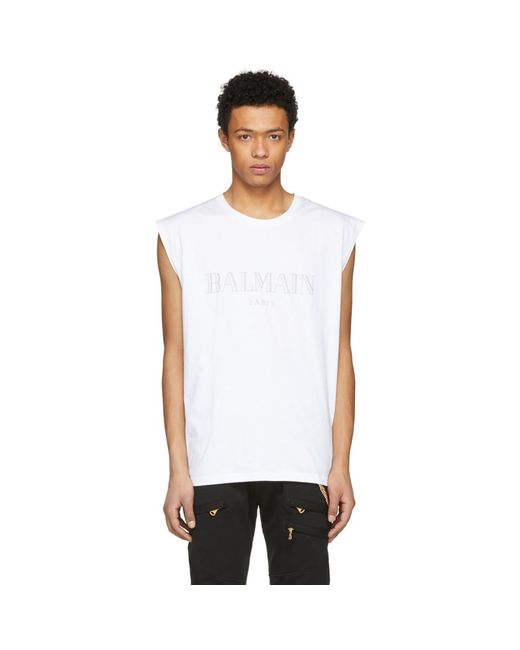 Balmain - White Logo Muscle T-shirt for Men - Lyst