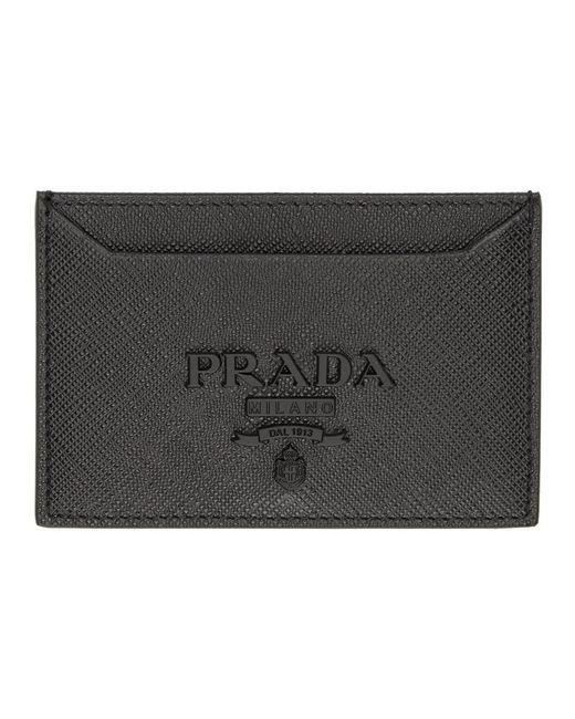 Prada - Black Saffiano Tonal Logo Card Holder - Lyst