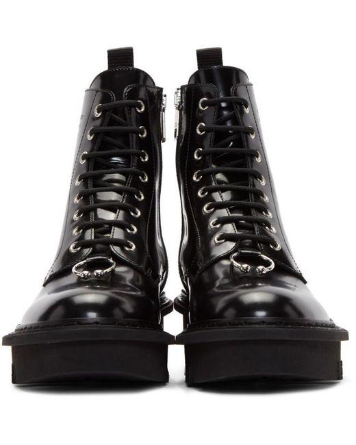 Neil Barrett Black Pierced Military Boots In Black For Men