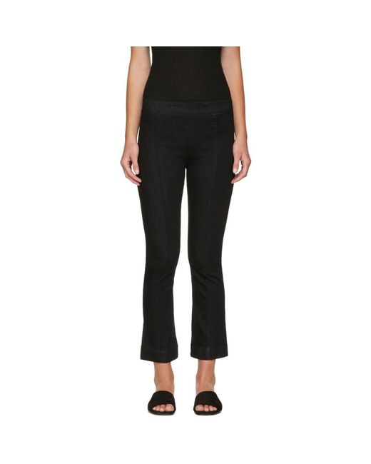 Helmut Lang - Black Pull-on Crop Flare Trousers - Lyst