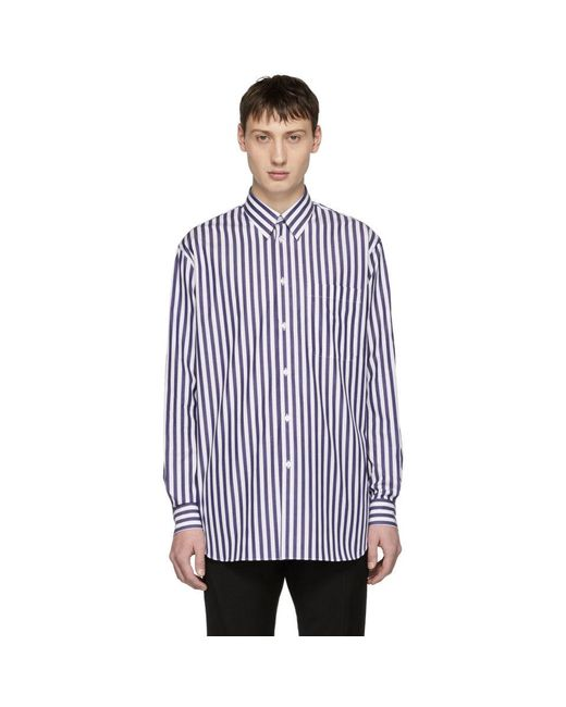 Versace - White And Blue Striped Long Shirt for Men - Lyst