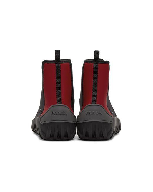 Black and Red Neoprene Frog Sock High-Top Sneakers Prada jSLphPGjBg