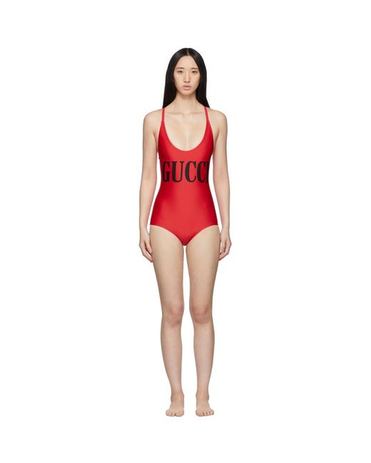 Gucci - Red Sparkling One-piece Swimsuit - Lyst