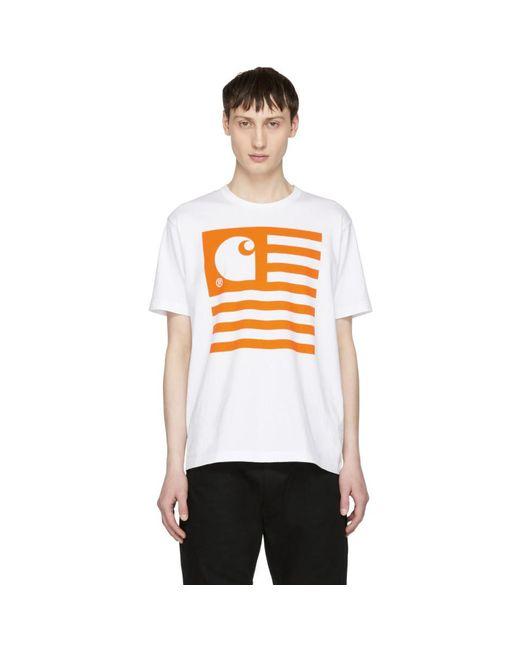 Junya Watanabe - White And Orange Carhartt Edition Logo T-shirt for Men - Lyst