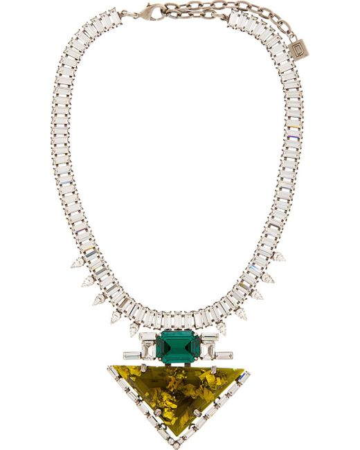 DANNIJO   Brown Chartreuse Resin & Crystal Elodie Necklace   Lyst