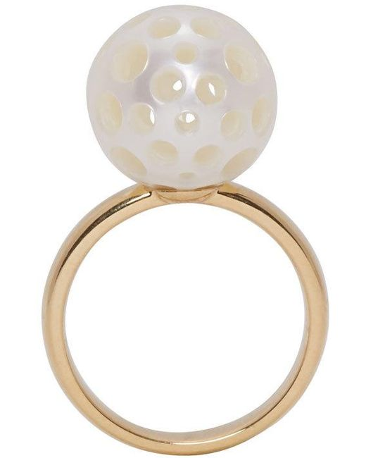 Melanie Georgacopoulos   Metallic Gold Drilled Pearl Tasaki Edition Ring   Lyst