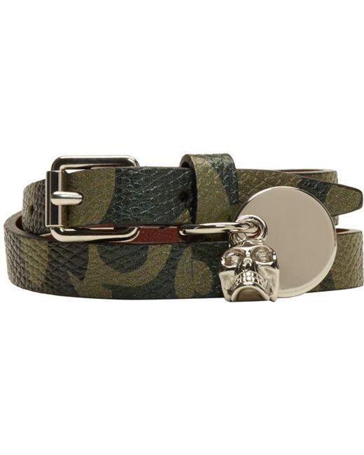Alexander McQueen   Green Camo Skull Charm Double Wrap Bracelet for Men   Lyst