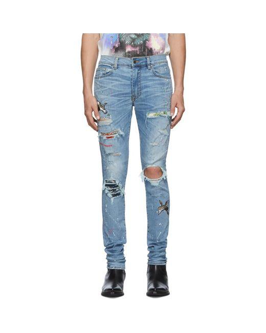 Amiri Blue Art Patch Crane Jeans for men