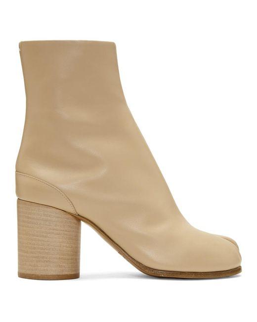 Maison Margiela - White Beige Leather Tabi Boots - Lyst