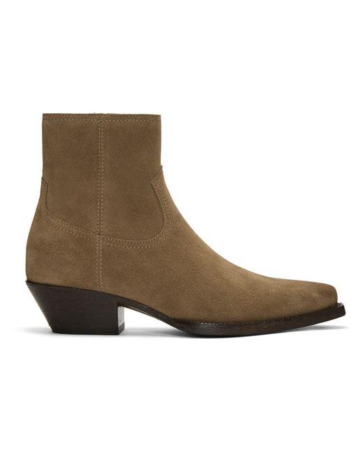 5c29201b47e87 Saint Laurent - Natural Beige Suede Lukas Zip Boots for Men - Lyst ...