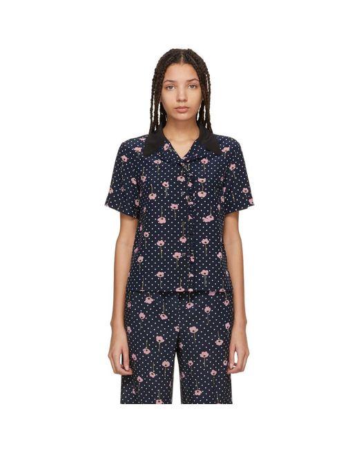 2e41eb8978e89 Miu Miu - Blue Navy Floral Polka Dot Pyjama Shirt - Lyst ...