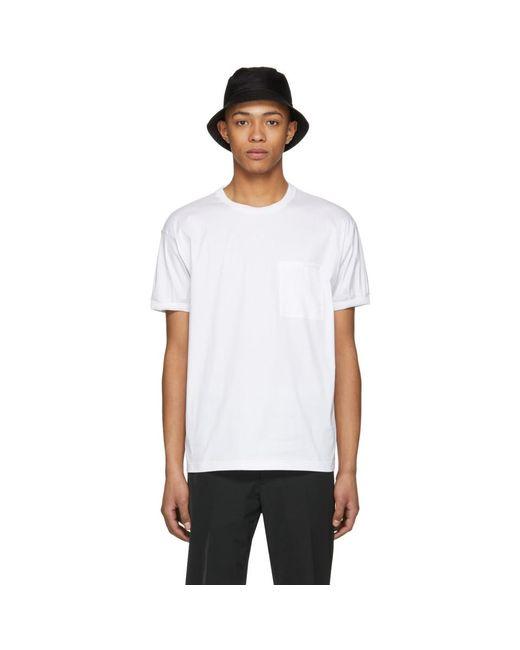 Prada - White Poplin Tech T-shirt for Men - Lyst