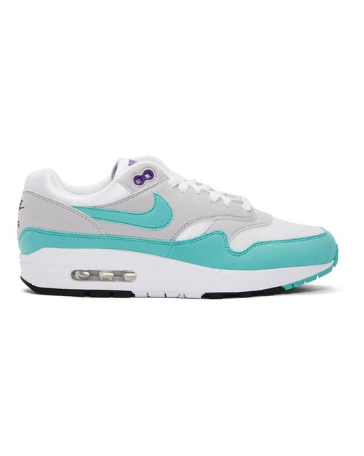 Nike - White And Blue Air Max 1 Anniversary Sneakers for Men - Lyst