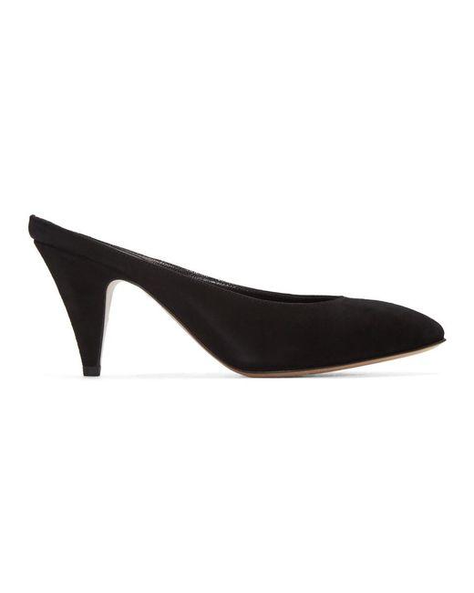 Mansur Gavriel - Black Suede Classic Slipper Heels - Lyst