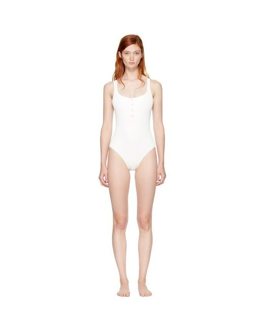 Solid & Striped | White Ivory Staud Edition 'the Veronica' Swimsuit | Lyst