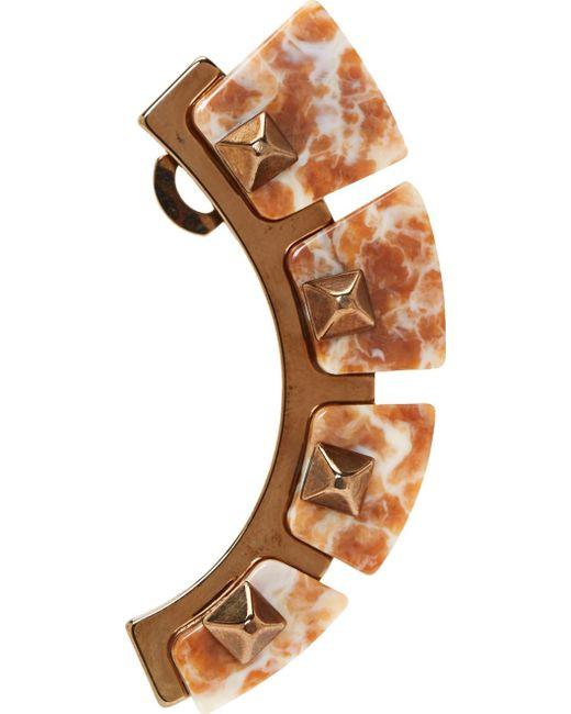 Caterina Zangrando | Pink Marbled Resin & Brass Cuff Earring | Lyst