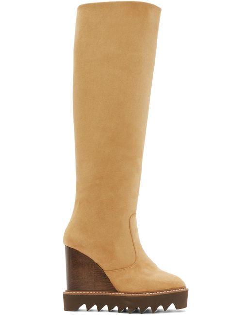 Stella McCartney   Brown Tan Knee-high Wedge Boots   Lyst