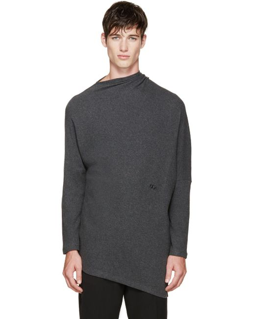 Thamanyah   Gray Grey Draped Brushed Cotton T-shirt for Men   Lyst