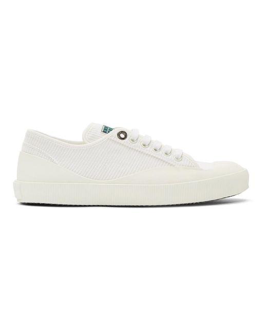 Lanvin White Corduroy Low-Top Sneakers 9LRplbhK1c