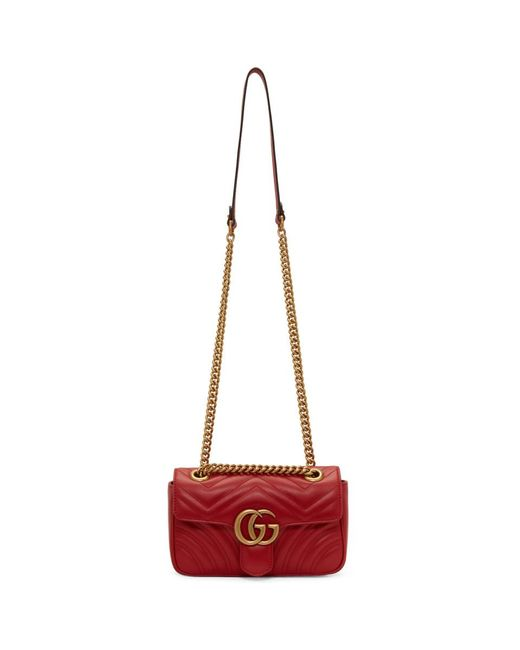 Lyst - Gucci Red Mini GG Marmont 2.0 Bag in Red e4b847641340c