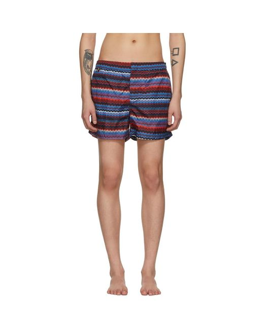 Missoni - Blue And Red Multi Zig Zag Swim Shorts for Men - Lyst
