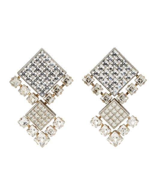 Lanvin - Metallic Crystal Embellished Earrings - Lyst