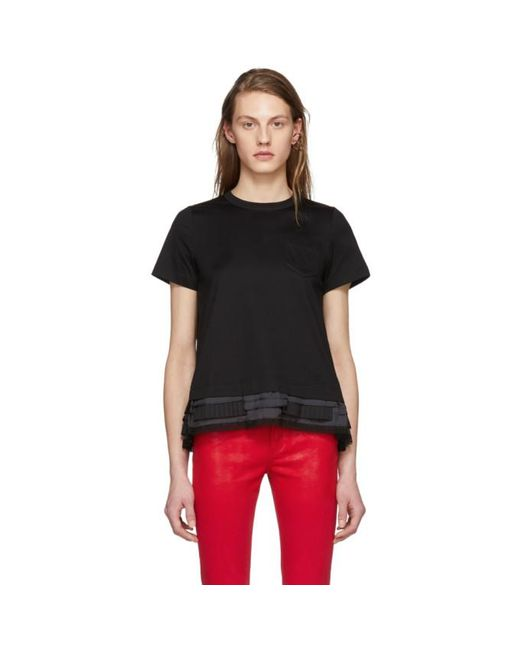 Sacai | Black Trim T-shirt | Lyst