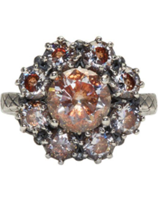 Bottega Veneta | Metallic Silver Flowers Zircon Ring | Lyst