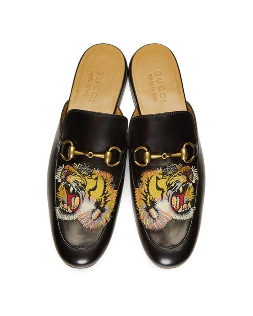 Gucci Leather Black Tiger Princetown Slippers for Men , Lyst