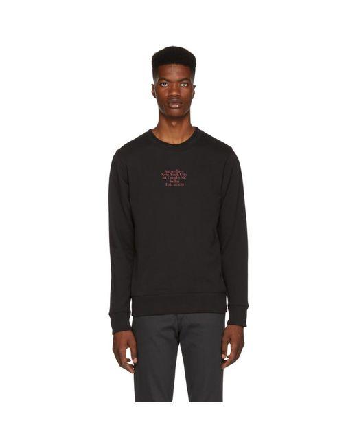 Saturdays NYC - Black Bowery Gotham Black Sweatshirt for Men - Lyst
