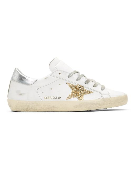 Golden Goose Deluxe Brand - Ssense Exclusive White And Silver Glitter Superstar Sneakers - Lyst