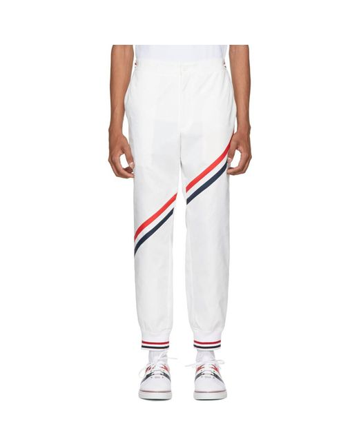 Thom Browne - White Diagonal Stripe Unconstructed Track Pants for Men - Lyst