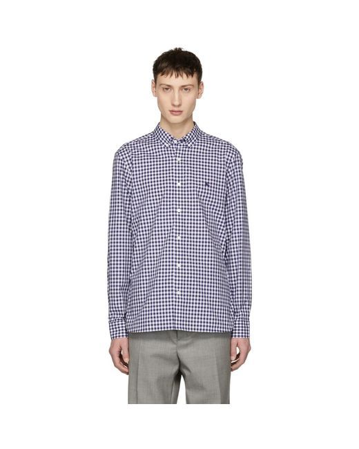 Burberry - Blue Navy Gingham Check Stopford Shirt for Men - Lyst