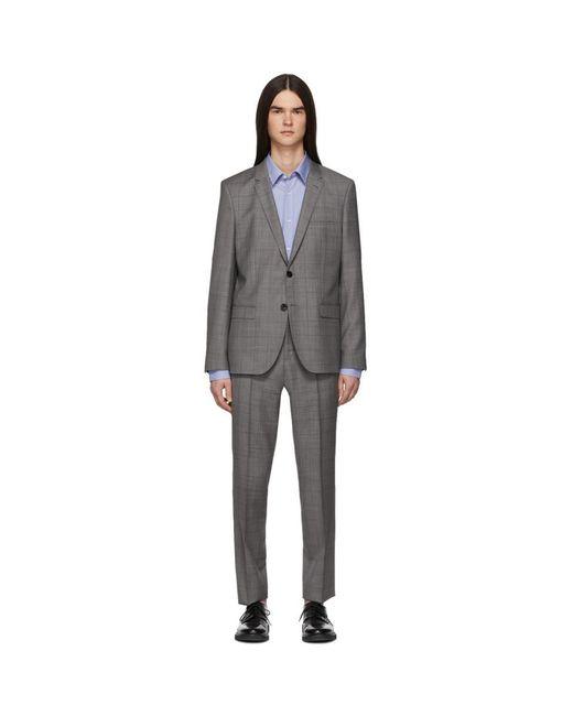 HUGO Gray Grey Check Arti/hesten Suit for men